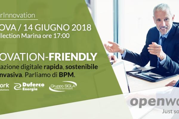 Openwork a Genova il 14 Giugno 2018 per parlare di Innovation-Friendly e Business Process Management